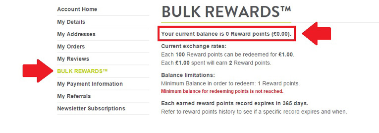 how to check bulk rewards points