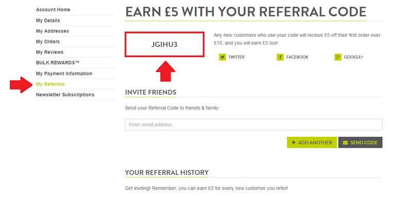 how to check your bulk powders referral code