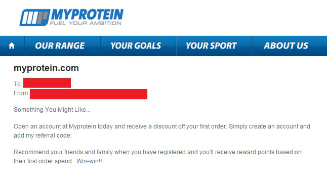 myprotein discount code: refer a friend confirmation e-mail
