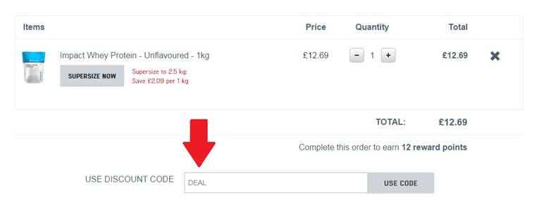 red arrow displaying where a myprotein discount code can be used