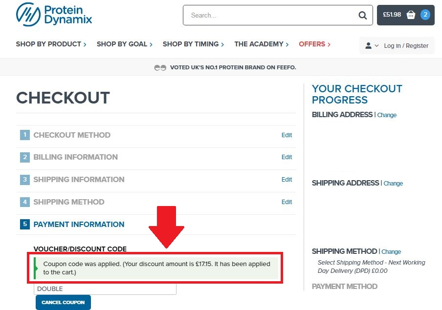 Protein Dynamix Discount Code - Screenshot #2 (Discount Applied)