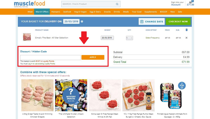 How To Apply A MuscleFood Discount Code - Step 1